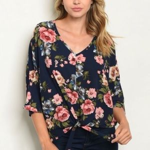 Sweet Claire Blue Floral Top Tie Front